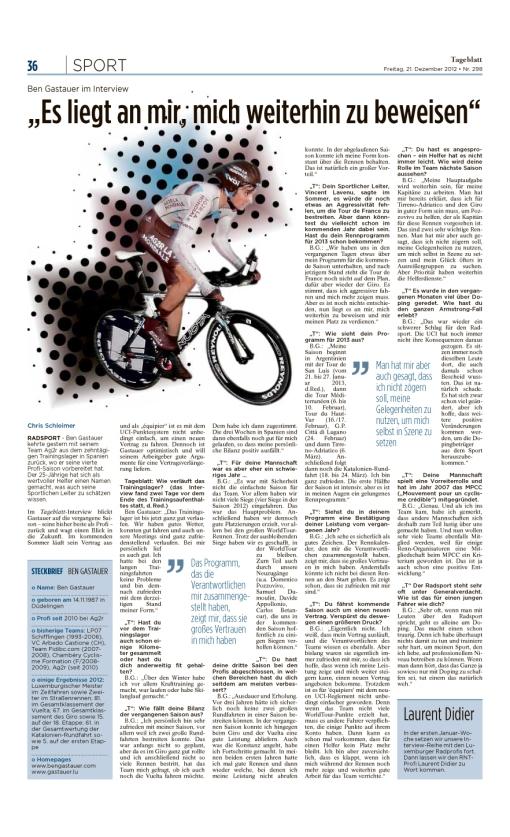 Tageblatt, Ausgabe: Tageblatt, vom: Freitag, 21. Dezember 2012