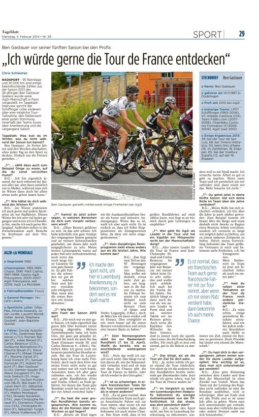 Tageblatt, Ausgabe: Tageblatt, vom: Dienstag, 4. Februar 2014