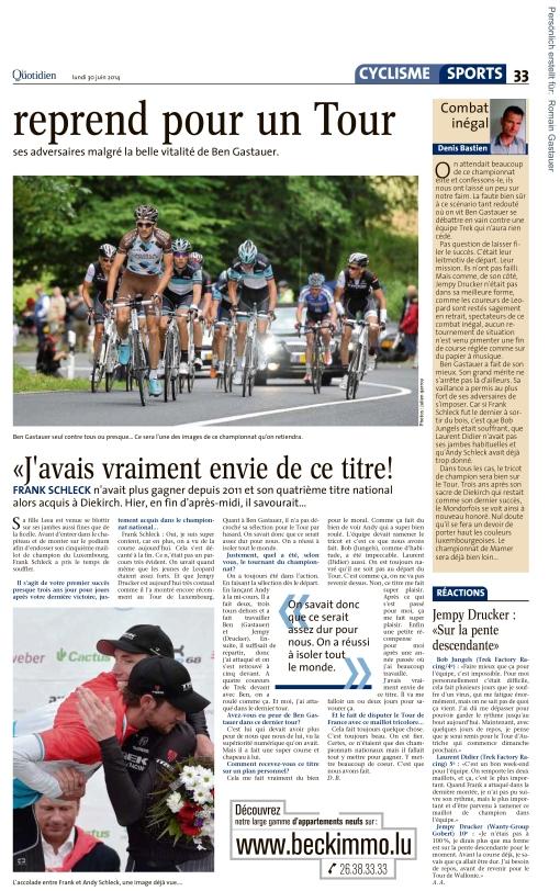 Le Quotidien, Ausgabe: Le Quotidien, vom: Montag, 30. Juni 2014