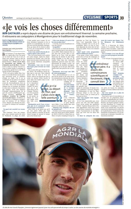 Le Quotidien, Ausgabe: Le Quotidien, vom: Samstag, 15. November