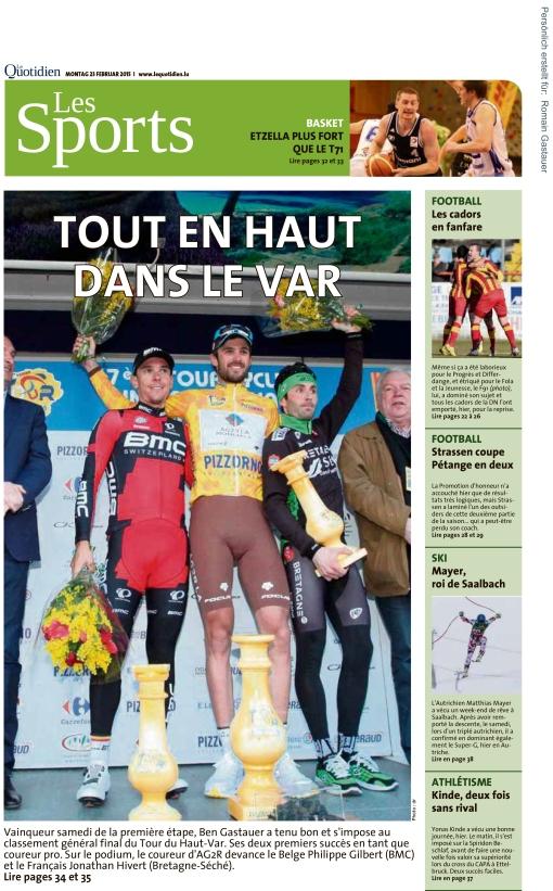 Le Quotidien, Ausgabe: Le Quotidien, vom: Montag, 23. Februar 20