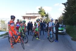 Cycling: 52nd Tirreno-Adriatico 2017 / Stage 6 Simone ANDREETTA (ITA)/ Ben GASTAUER (LUX)/ Alan MARANGONI (ITA)/ Davide BALLERINI (ITA) Green Mountain Jersey/ Raffaello BONUSI (ITA)/ Mirco MAESTRI (ITA)/ Pavel KOCHETKOV (RUS)/ Joonas HENTTALA (FIN)/ Leading group also stopped for 3 minutes as compensation due to train passage/ Ascoli Piceno - Civitanova Marche (168km) / © Tim De Waele