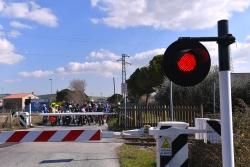 Cycling: 52nd Tirreno-Adriatico 2017 / Stage 6 Peloton / Peloton stopped at closed rail passage/ Train/ Ascoli Piceno - Civitanova Marche (168km) / © Tim De Waele